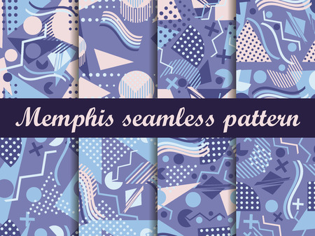 Memphis seamless pattern. Geometric elements memphis in the style of 80's. Vector illustration.  イラスト・ベクター素材