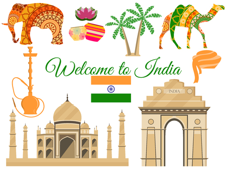 Welcome to India, India's traditional symbols, icons attractions. Vector illustration.