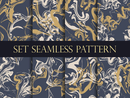 marbling: Marbling seamless pattern set. Watercolor marbling illustration. Drawing on the water. Vector illustration.