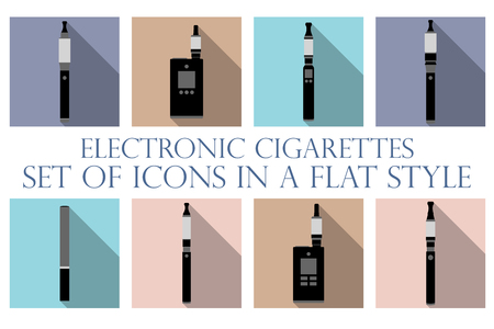 toxic product: Electronic cigarette. Electronic cigarette flat icons. Types vaporizers. Set vector icons.