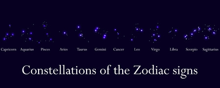 constellations: Zodiac signs. Constellations of the zodiac signs, horoscope. Star Cluster. Vector illustrations. Illustration