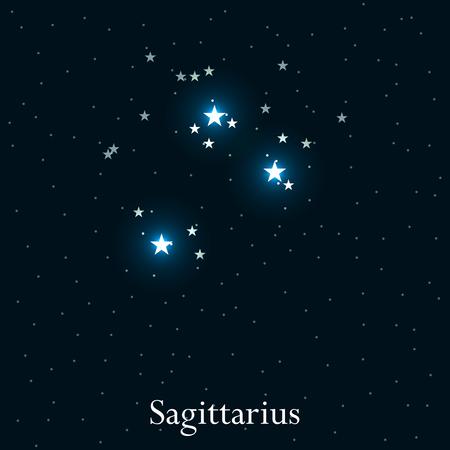 constellation sagittarius: Sagittarius zodiac sign. Bright stars in the cosmos. Constellation Sagittarius. Vector illustration.