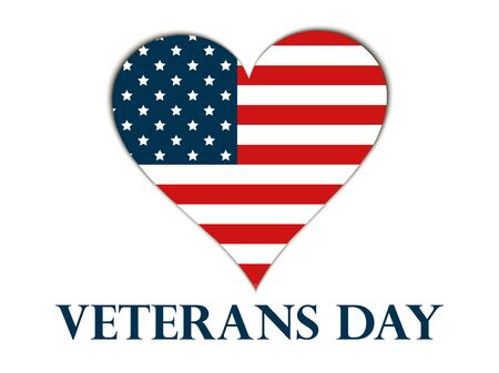 honouring: Veterans Day. Heart with the American flag on a white background. Vector illustration.