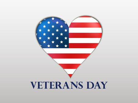 brilliant heart: Veterans Day. Brilliant heart with a US flag and shadow on a white background. Patriotic heart. Vector illustrations.