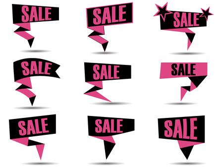 call out: Set of pink discount and promotion banners. Sale banner tag. Advertising element. Call out sale.