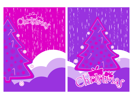 Christmas background with snowflakes and Christmas tree. Elements grunge style.