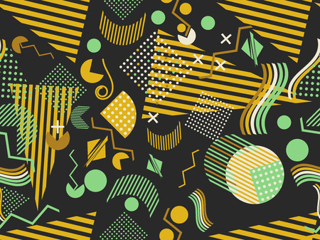 Memphis seamless pattern. Geometric elements memphis in the style of 80's.  イラスト・ベクター素材