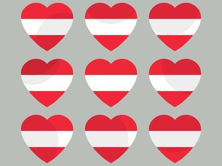 sovereignty: Hearts with the Austria flag. I love the Austria. Austria flag icon set.  illustration.