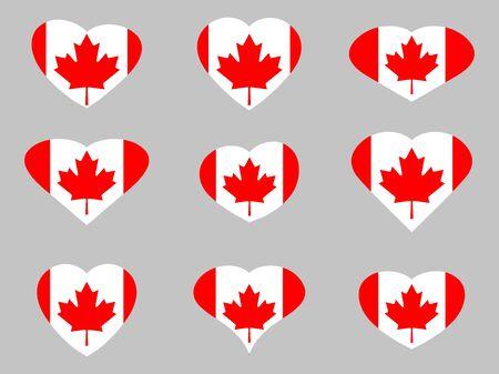 i love canada: Hearts with the flag of Canada. I love the Canada. Canada flag icon set.  illustration. Illustration