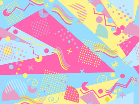 Memphis seamless pattern. Geometric elements memphis in the style of 80's. Vector illustration. Vector Illustration