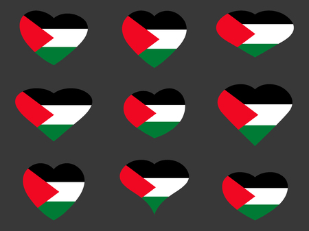 Hearts with the flag of Palestine. I love the Palestine. Palestine flag icon set. Illustration