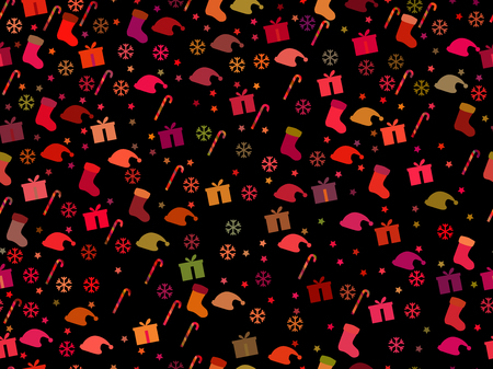 candy canes: Seamless pattern with candy canes and gift box. Christmas pattern. Illustration