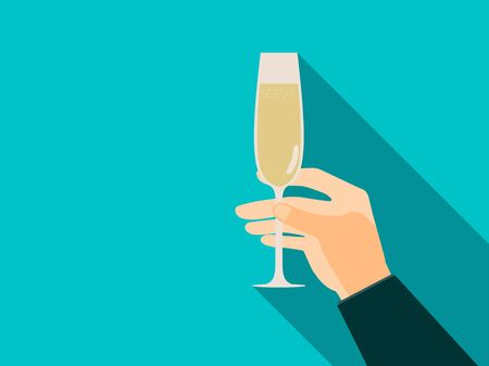 Hand with glass of champagne in flat style. Vector illustration.
