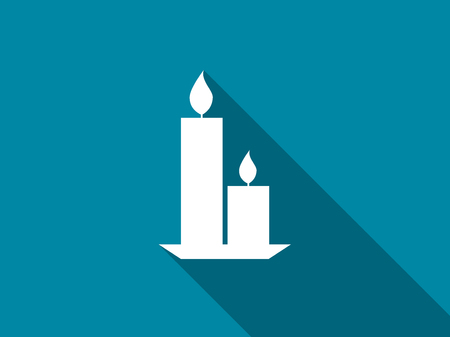 Candles with a long shadow. Vector illustration.
