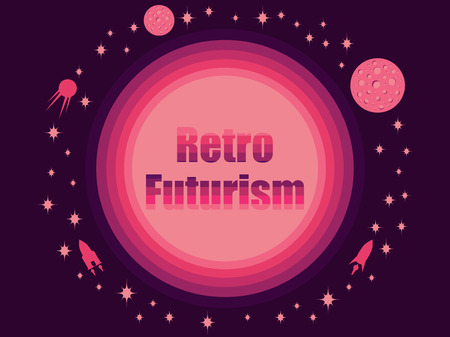 Retro futurism in 80's retro style. Space travel, asteroids and space ships. Vector illustration.