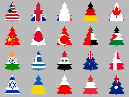 Firs with flags of different countries around the world. Collection of Christmas trees. Vector illustration.