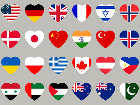 heart health: Hearts with flag. Flag icons set. Vector illustration.