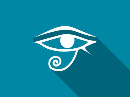 ojo de horus: Eye of Horus with a long shadow. Vector illustration.