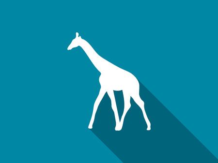 Giraffe flat icon with long shadow. Vector illustration.
