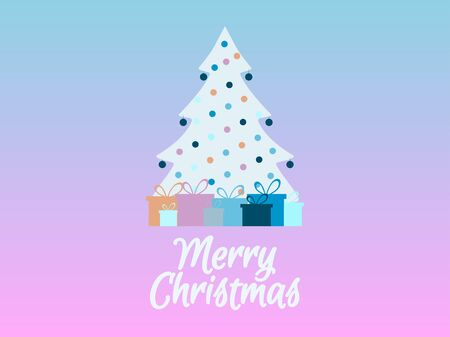 quartz: Decorated Christmas tree with gifts. Rose Quartz and serenity of the background color. Vector illustration.