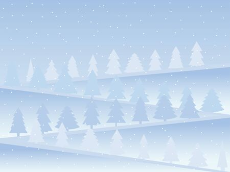 mountainside: Snow-covered mountains with Christmas trees. Snow landscape in flat style. Vector illustration.