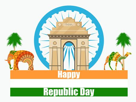 asoka: Happy Republic Day of India. Illustration of India gate. Illustration