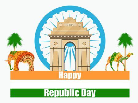 Happy Republic Day of India. Illustration of India gate. Illustration