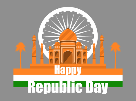 Republic Day of India. Taj Mahal with flag and palm trees. Vector illustration. Illustration