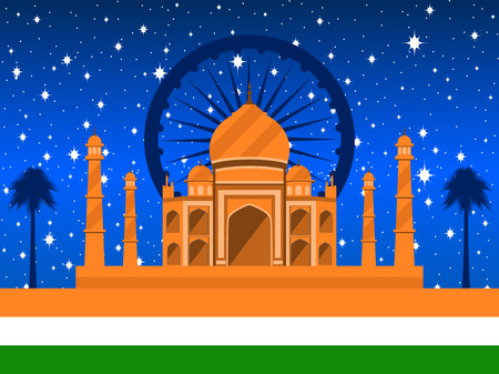 Republic Day of India. Taj Mahal with flag and palms on the background of a starry sky. Vector illustration.
