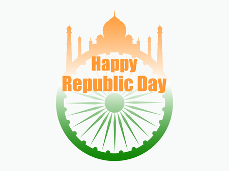 Happy Republic Day of India. Vector illustration in the colors of the Indian flag Illustration