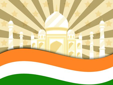 26 january Republic Day India. Celebration poster with flag and Taj Mahal. Vector illustration Illustration
