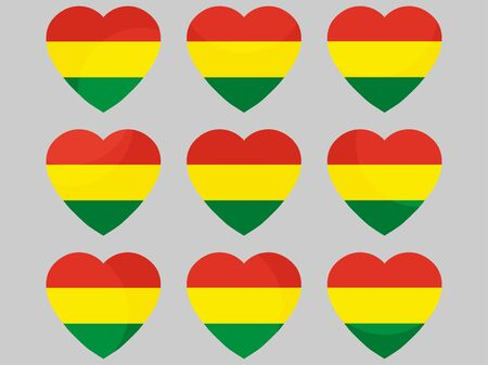 Corazón con la bandera de Bolivia. Amo a Bolivia Ilustración vectorial