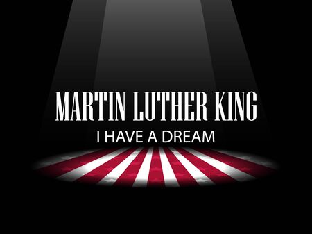 jr: Martin Luther King Day. I have a dream. The light on the scene. Vector illustration
