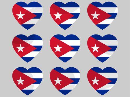 Heart with the flag of Cuba. I love Cuba. Vector illustration Vector Illustration