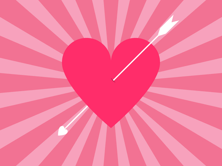 engagement party: Happy Valentines Day. Heart with arrow. Vector illustration Illustration