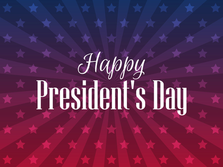 Happy Presidents Day. Festive banner with american flag and text. Vector illustration Vettoriali