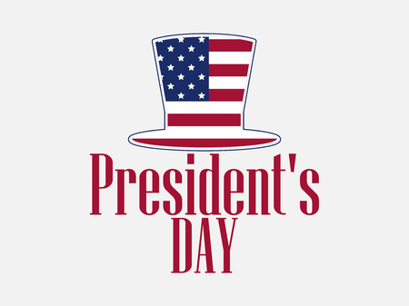 Happy Presidents Day. Uncle Sam hat and text. Vector illustration