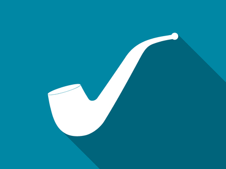 Smoking pipe flat icon with long shadow. Vector illustration