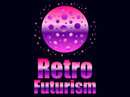 Retro futurism in 80s retro style. Space travel. Vector illustration