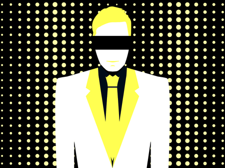 office wear: A man in a white suit with a tie in pop art style. Dotted background. Yellow and white. Vector illustration