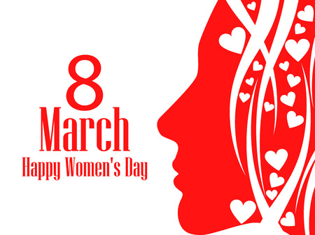 Happy Womens Day greeting card. March 8. Female face with the text of congratulations. Holiday card. Vector illustration Illustration