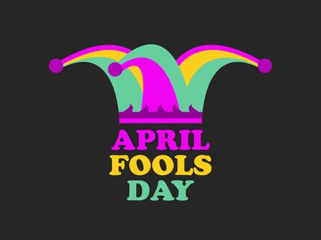 April Fools Day. Jester hat, cap and bells. Vector illustration