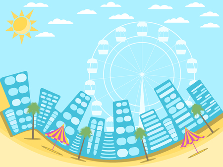 City landscape with beach. A resort town on the beach. Palms and attractions. Vector illustration Illustration