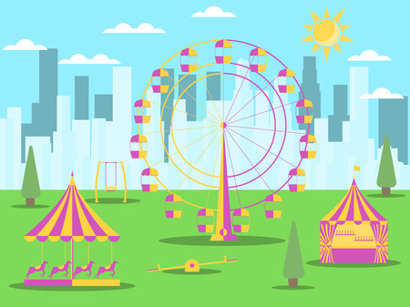 City park with attractions on the background of skyscrapers. A Ferris wheel, a merry-go-round with horses and a swing. Vector illustration