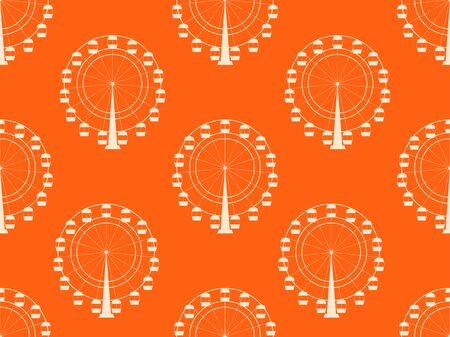 wheel spin: Seamless pattern with a ferris wheel. Vector illustration