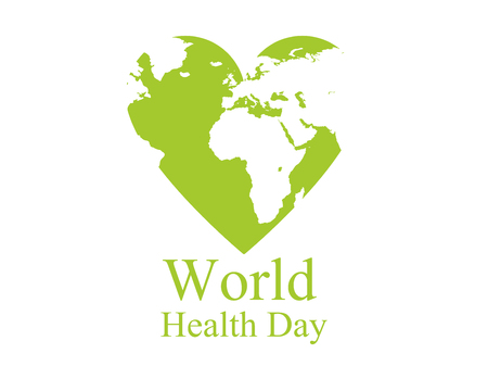 World health day. Continents and heart. Festive banner. Vector illustration