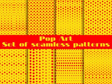 polkadot: Dotted, Pop Art seamless pattern background. Set vector illustration.
