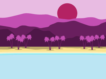 Tropical landscape. Coast with palm trees and mountains in the background. Vector illustration Illustration