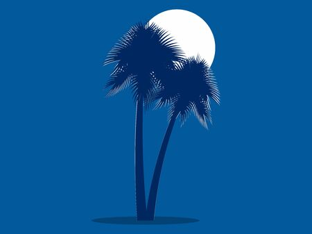 Two palm trees in the background of the moon. Blue background. Vector illustration
