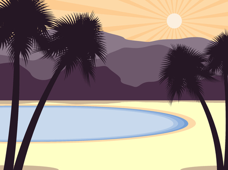 Coast with palm trees and mountains in the background. Tropical scenery. Vector illustration